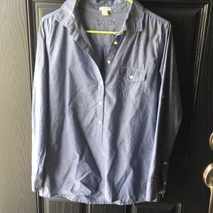 J. Crew Long Sleeve Chambray Tunic Button Blouse
